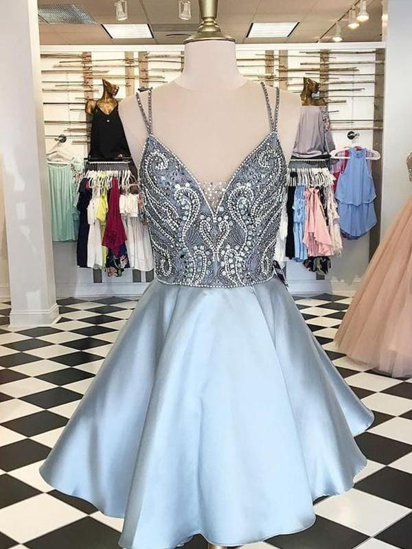 A-Line/Princess Sleeveless Spaghetti Straps Satin Short/Mini Dress