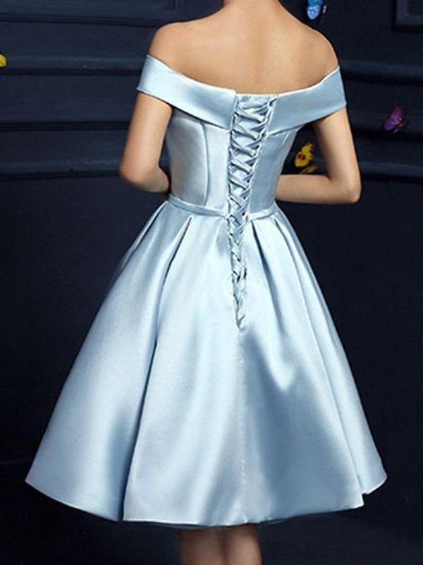 A-Line Satin With Bowknot Sleeveless Knee-Length Dress