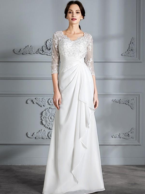 Sheath/Column Chiffon V-neck Floor-Length Wedding Dresses