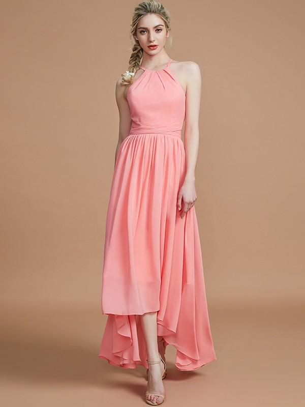 A-Line/Princess Halter Asymmetrical Chiffon Bridesmaid Dresses