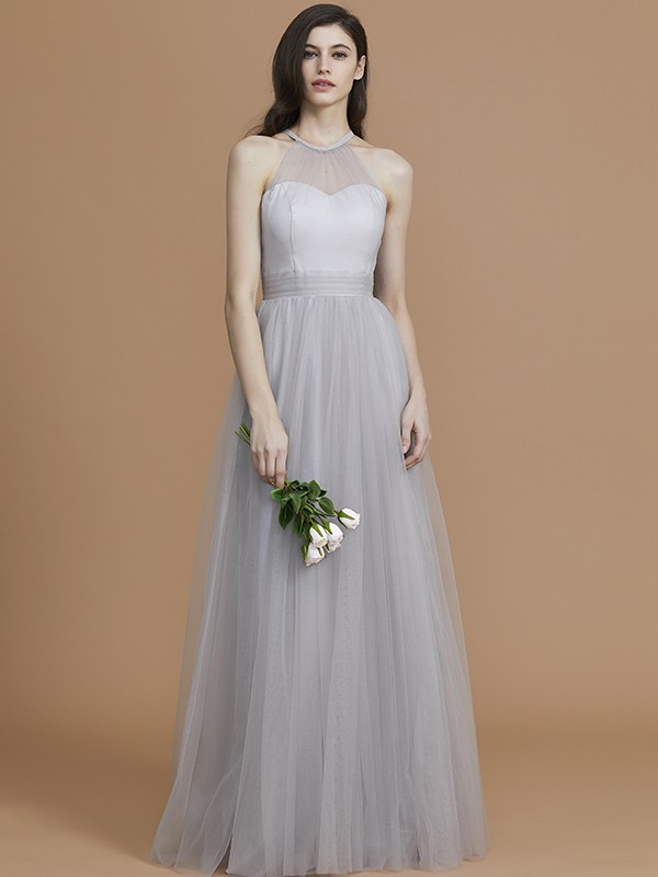 A-Line/Princess Halter Floor-Length Tulle Ruffles Bridesmaid Dresses