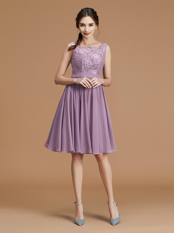 A-Line/Princess Bateau Short/Mini Chiffon Bridesmaid Dresses