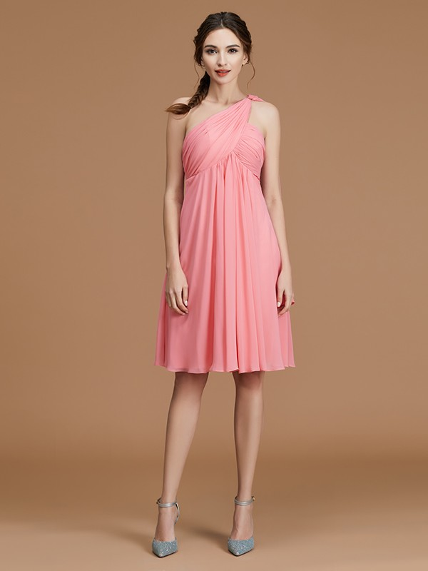 A-Line/Princess One-Shoulder Short/Mini Chiffon Ruched Bridesmaid Dresses