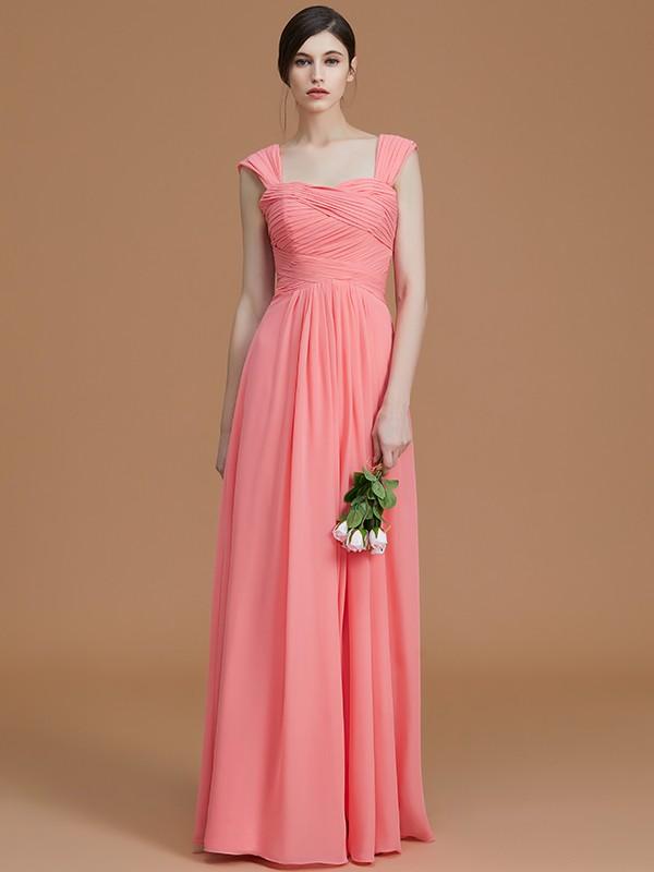 A-Line/Princess Sweetheart Floor-Length Chiffon Ruched Bridesmaid Dresses