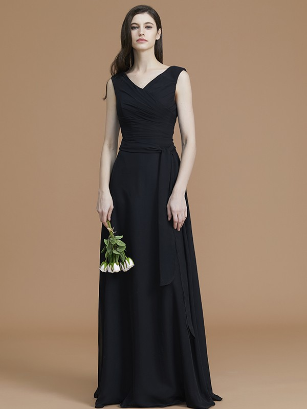 A-Line/Princess V-neck Floor-Length Chiffon Sash/Ribbon/Belt Bridesmaid Dresses
