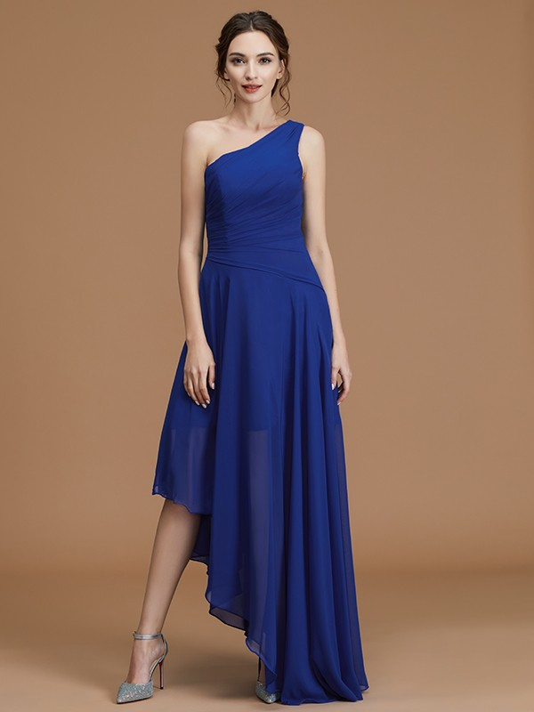 A-Line/Princess One-Shoulder Asymmetrical Chiffon Ruffles Bridesmaid Dresses