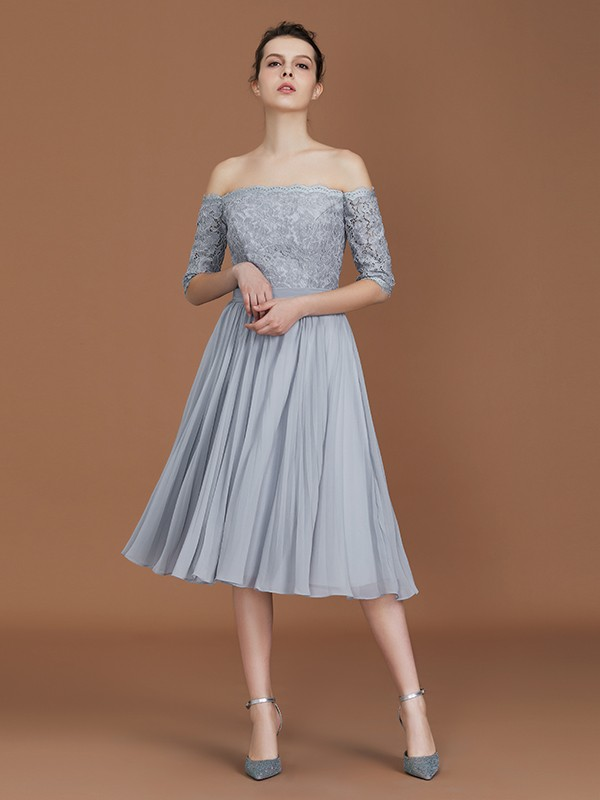 A-Line/Princess Off-the-Shoulder Tea-Length Chiffon Bridesmaid Dresses