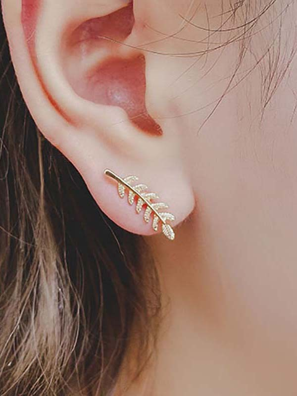 Brilliant Alloy With Leaf Earrings