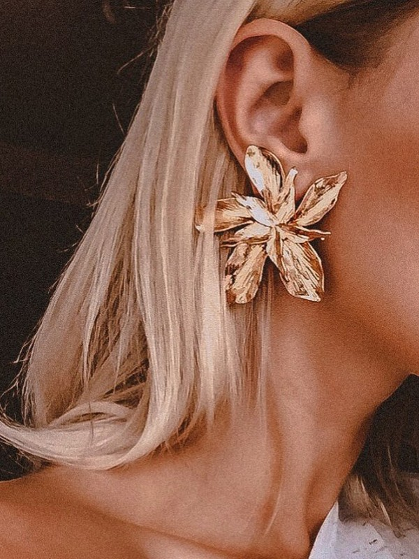 Unique Floral Metal Earrings
