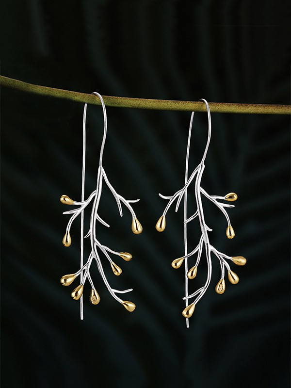Fashion Tree 925 Sterling Silver Earrings