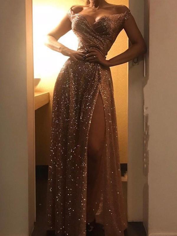 A-Line/Princess Sequins Ruched Off-the-Shoulder Sleeveless Floor-Length Dresses