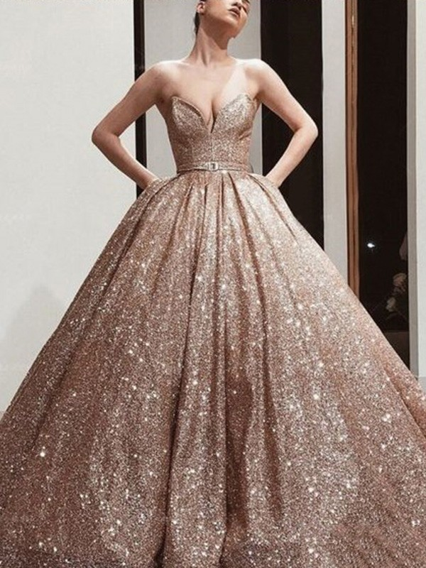 Ball Gown Sequins Sash/Ribbon/Belt Sweetheart Sleeveless Floor-Length Dresses