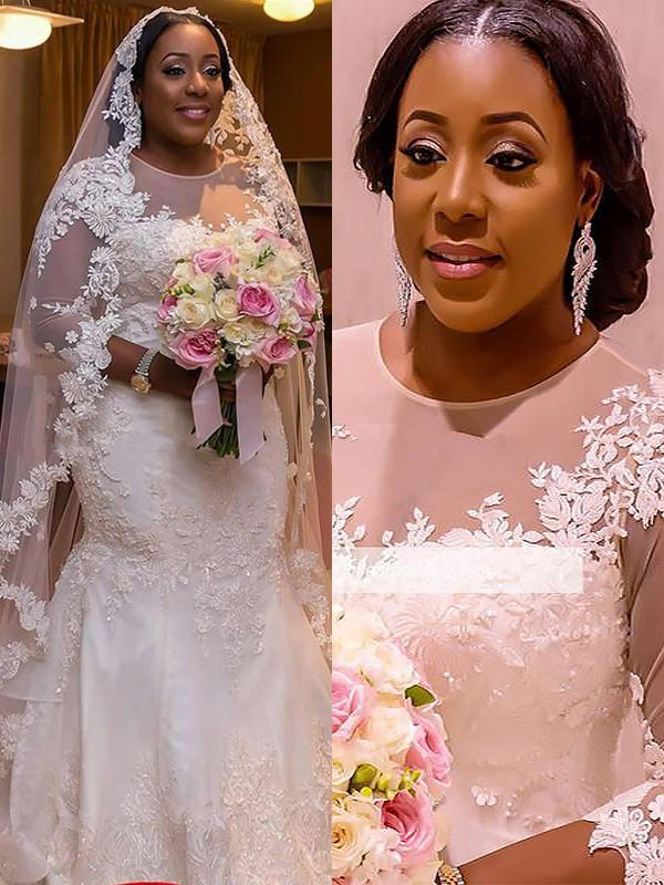 Trumpet/Mermaid Tulle Lace Court Train Applique Wedding Dresses