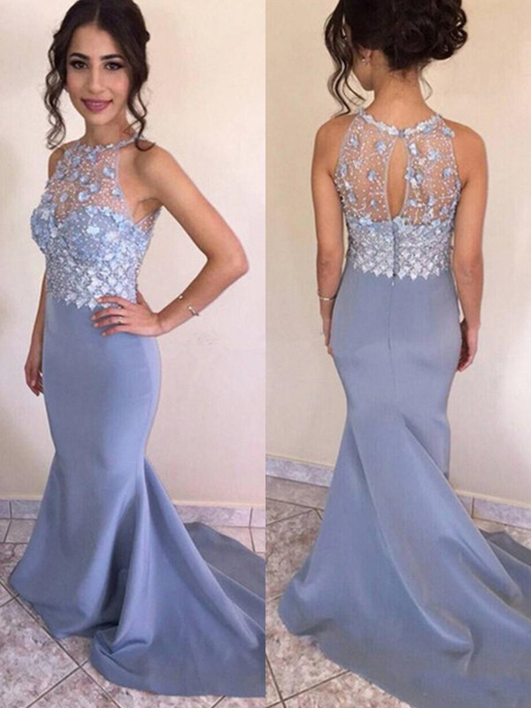 Trumpet/Mermaid Sleeveless Sweep/Brush Train Jewel Crystal Satin Dresses