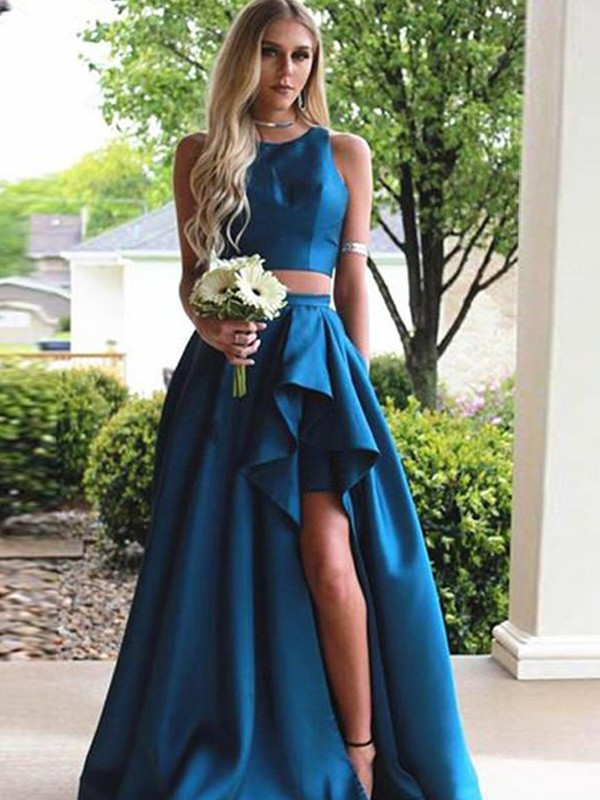 A-Line/Princess Sleeveless Sweep/Brush Train Scoop Ruffles Satin Two Piece Dresses