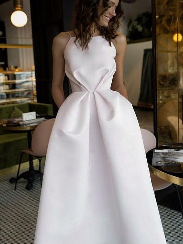 A-Line/Princess Ruffles Sleeveless Tea-Length Satin Dresses