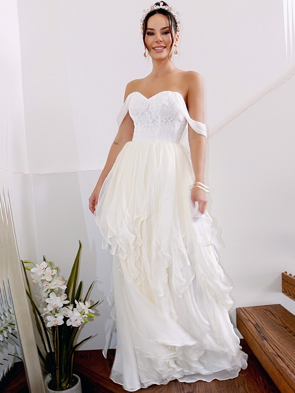 A-Line/Princess Chiffon Sleeveless Floor-Length Wedding Dress