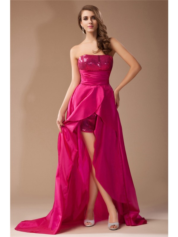 A-Line/Princess Strapless Sequin Lace High Low Taffeta Dress