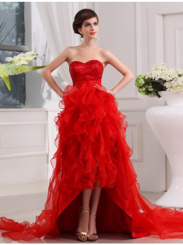 A-Line/Princess Sequin Sweetheart High Low Organza Dress