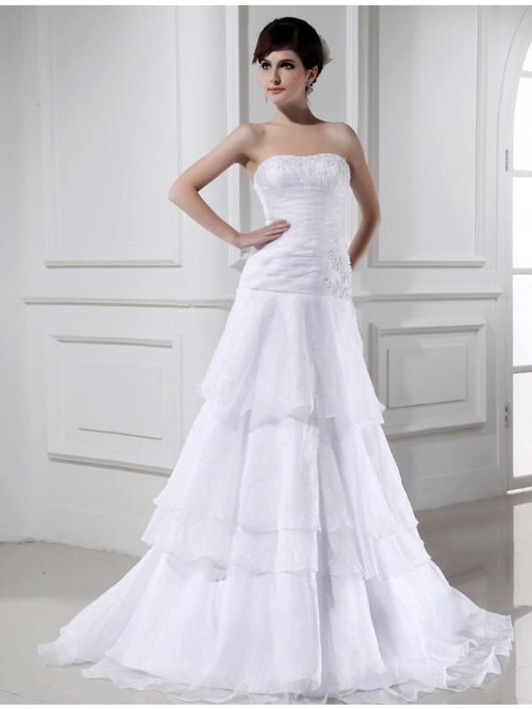 A-Line/Princess Organza Strapless Long Wedding Dress