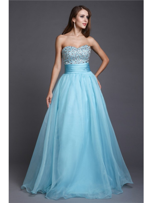 A-Line/Princess Sweetheart Long Organza Dress
