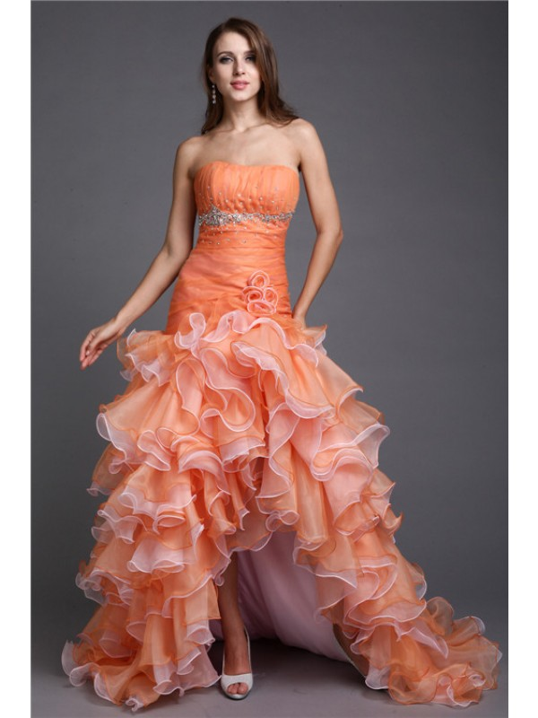 Ball Gown Strapless High Low Organza Cocktail Dress
