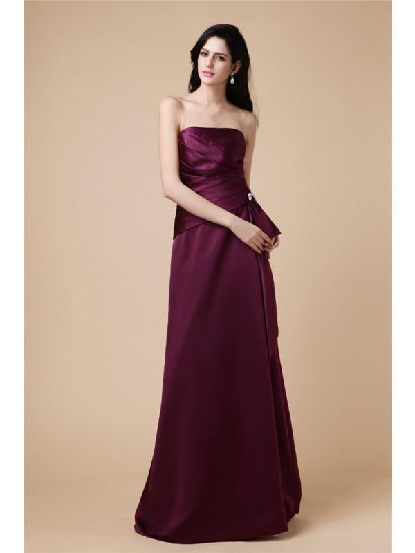 A-Line/Princess Strapless Pleats Long Satin Dress