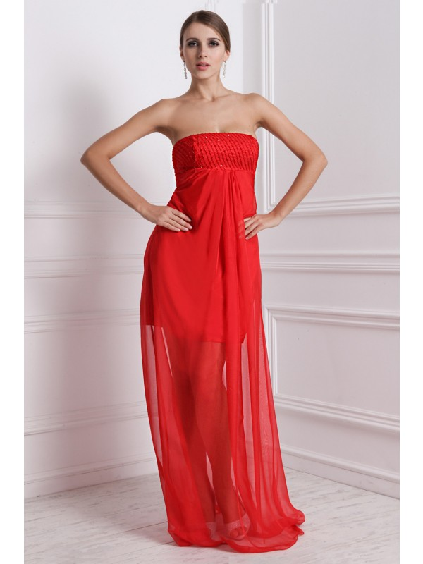 A-Line/Princess Strapless Chiffon Bridesmaid Dress
