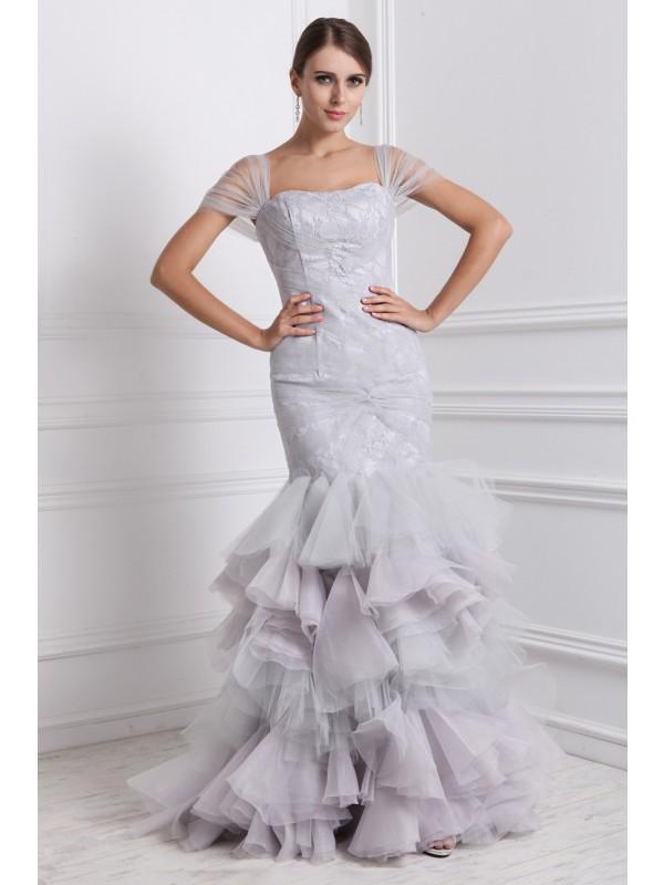 Trumpet/Mermaid Straps Ruffles Long Organza Dress