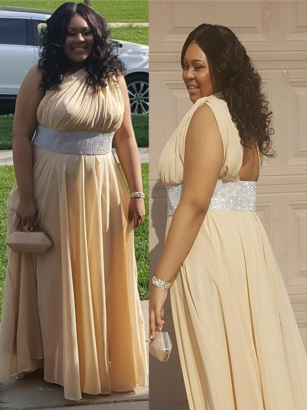 A-Line/Princess One-Shoulder Crystal Floor-Length Chiffon Plus Size Dress