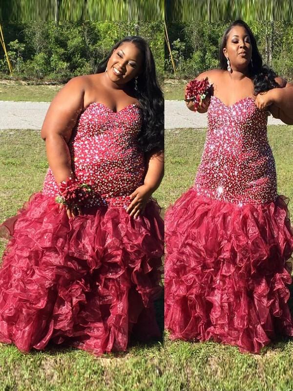 Trumpet/Mermaid Sweetheart Beading Floor-Length Organza Plus Size Dress