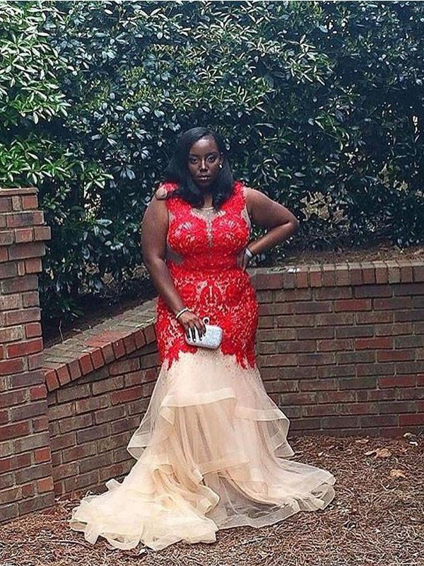 Trumpet/Mermaid Scoop Applique Court Train Organza Plus Size Dress