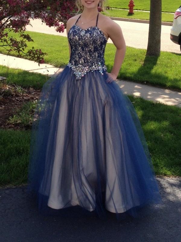 Ball Gown Halter Beading Floor-Length Tulle Plus Size Dress