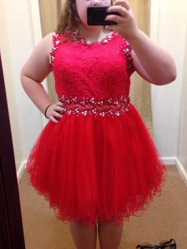 A-Line/Princess Scoop Beading Short/Mini Organza Plus Size Dress