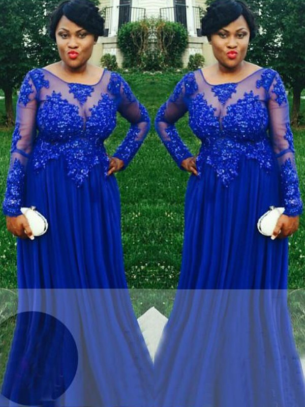 A-Line/Princess Sheer Neck Long Sleeves Applique Floor-Length Chiffon Plus Size Dresses