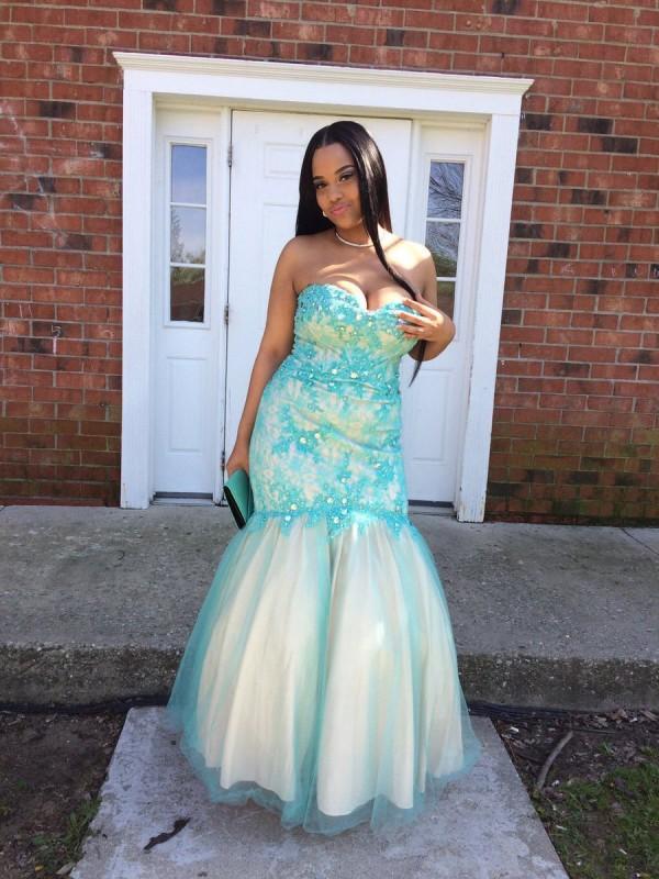 Trumpet/Mermaid Sweetheart Sleeveless Applique Floor-Length Tulle Plus Size Dresses