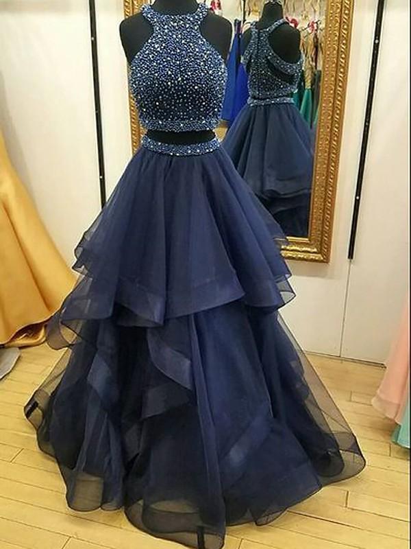 A-Line/Princess Sleeveless Halter Net Beading Floor-Length Two Piece Dresses