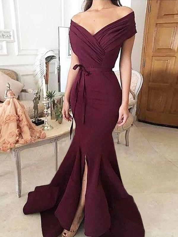 Trumpet/Mermaid Off-the-Shoulder Floor-Length Ruched Satin Dress