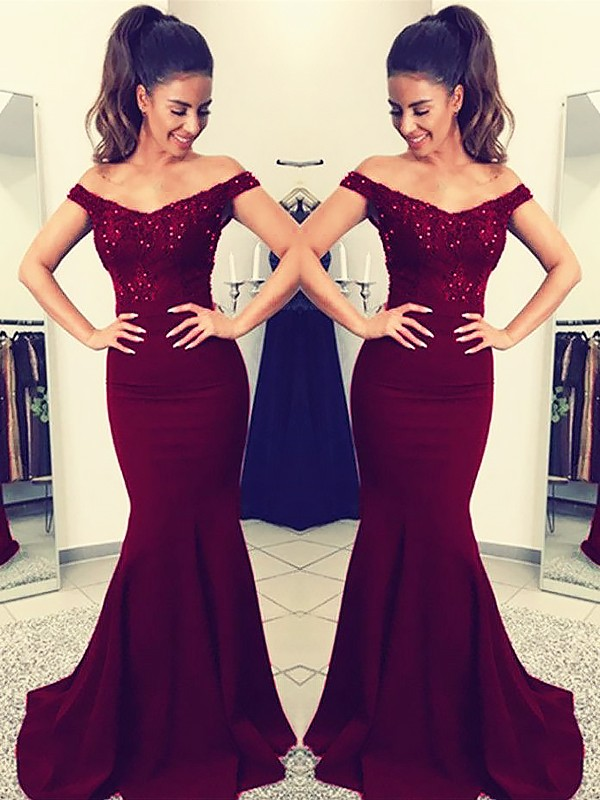 Trumpet/Mermaid Off-the-Shoulder Sleeveless Sweep/Brush Train Lace Satin Dresses