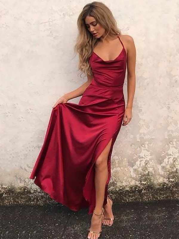 A-Line Spaghetti Straps Sleeveless Floor-Length With Ruffles Elastic Woven Satin Dresses