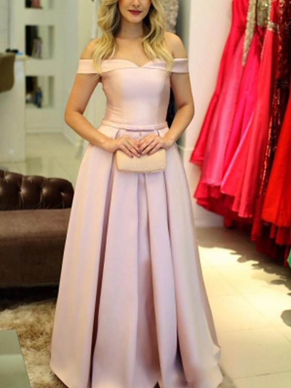A-Line Off-the-Shoulder Floor-Length With Ruffles Satin Dress