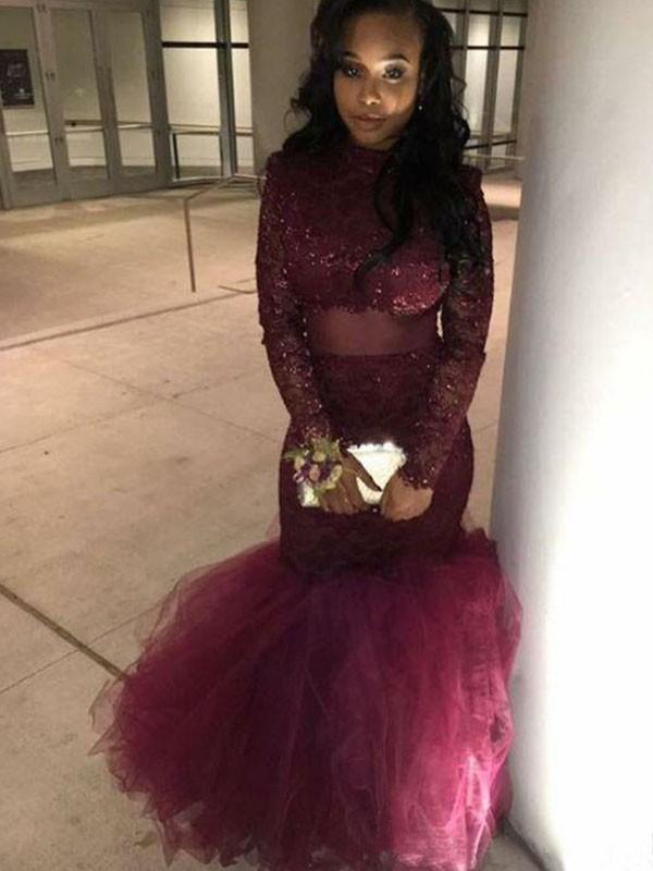 Trumpet/Mermaid Jewel Long Sleeves Applique Floor-Length Lace Dress