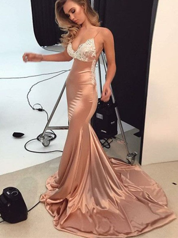Trumpet/Mermaid Straps Sleeveless Sweep/Brush Train Silk like Satin Dress