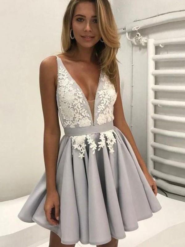 A-Line/Princess V-Neck Satin Applique Short/Mini Dress