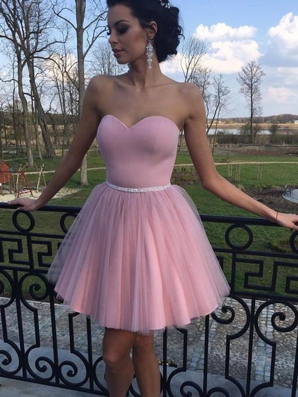 A-Line/Princess Sweetheart Pleats Tulle Short/Mini Dress