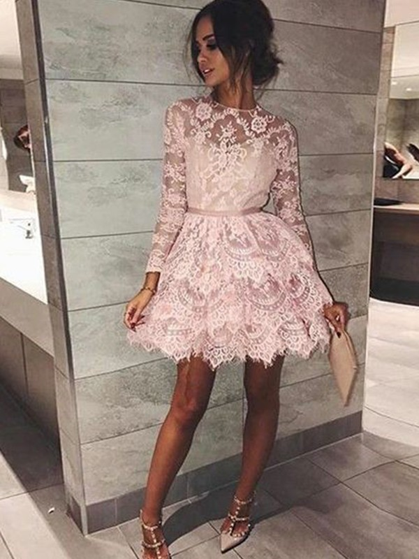 A-Line/Princess Bateau Beading Short/Mini Dress with Lace