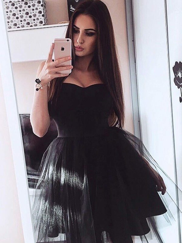 A-Line/Princess Satin Strapless Short/Mini Dress