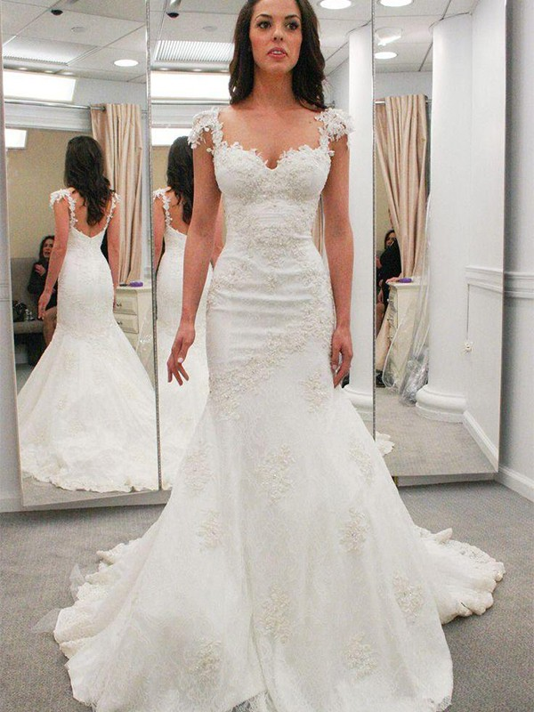 Trumpet/Mermaid Short Sleeves Applique Chapel Train Lace Wedding Dress