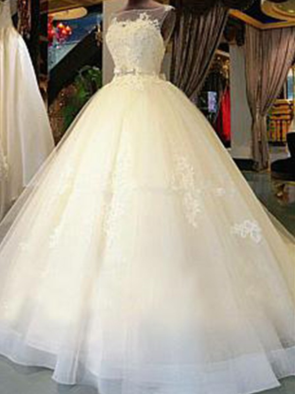 Ball Gown Scoop Cathedral Train Sleeveless Applique Tulle Wedding Dress