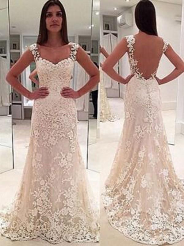 Sheath/Column Straps Sleeveless Court Train Applique Lace Wedding Dress